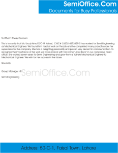 Sample Mechanical Engineer Experience Letter Format