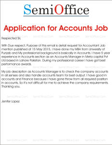 Job Application Letter for Accountant with Experience