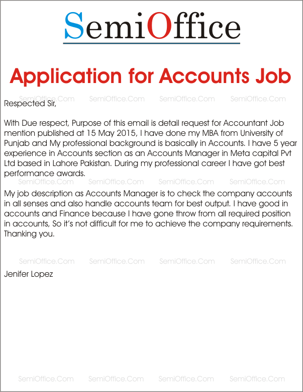 Job Application For Accountant Positionssemioffice Com