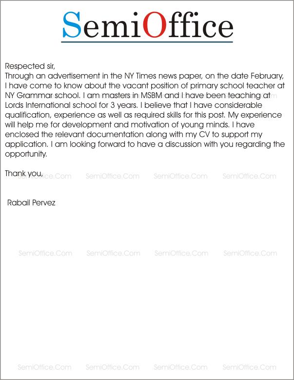 Job_Application_for_Primary__Teacher Teaching Letter Of Application For College on regarding leave, certificate program, recommendation examples for, teacher cover, for scholarship, for leave,