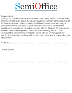 Job Application for Primary School Teacher