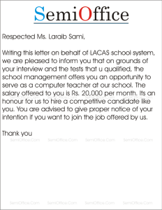 Appointment Letter for School Teacher