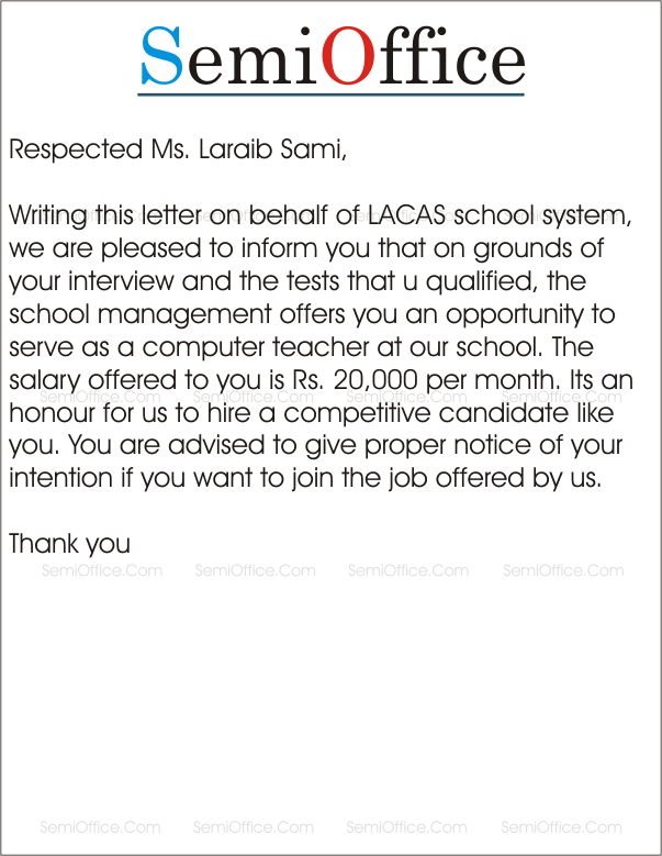 teaching appointment letter sample