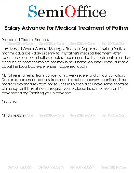 Salary advance for medical treatment sample application advance salary for mothers treatment spiritdancerdesigns Gallery