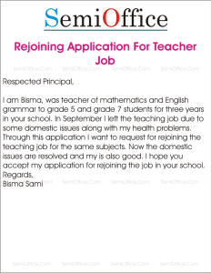 Application for Rejoining The Teaching Job in School