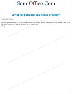 Letter for Sending Sad News of Death