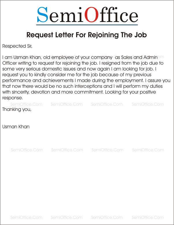 job requesting letter