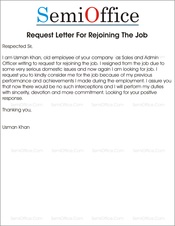 Rejoining Letter Format After Long Leave. Rejoining the Organization after Resignation Letter After From Company