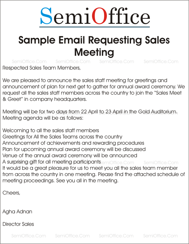 sample letter for meeting schedule