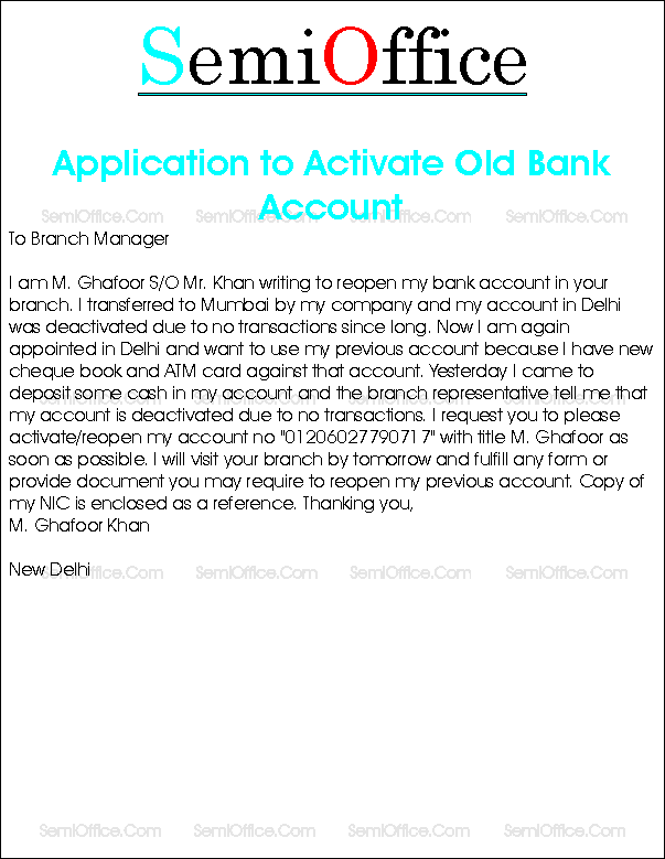 How to write an application letter to bank