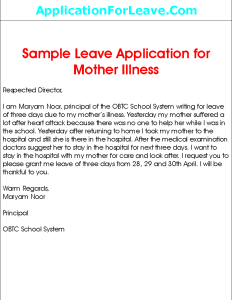 Leave application for mother illness thecheapjerseys Image collections