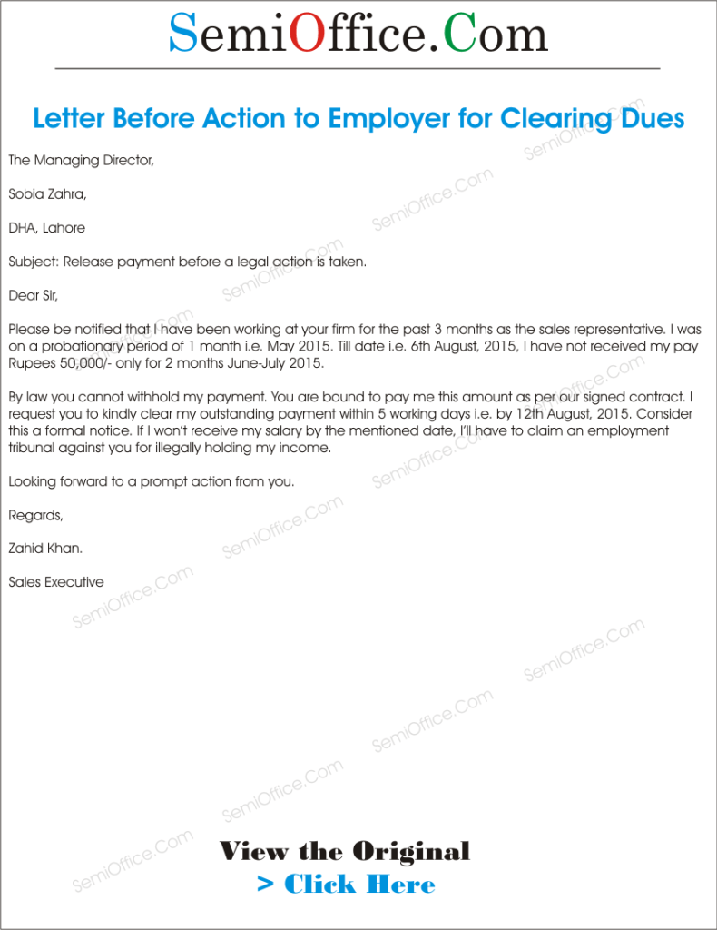Letter Before Action >> Letter Before Action To Employer For Clearing Dues