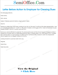 Letter Before Action to Employer for Clearing Dues