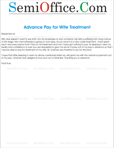 Advance Salary for Wife's Treatment from Company