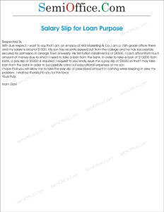 Application For Salary Slip For Loan Purpose