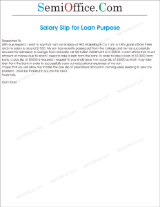 Application For Salary Slip For Loan Purpose