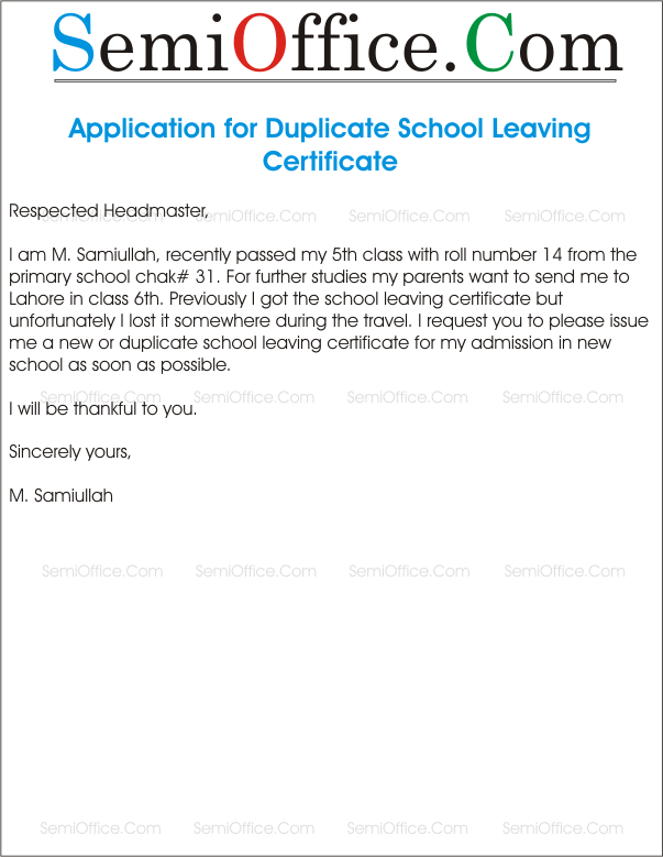 Application for duplicate leaving certificate altavistaventures
