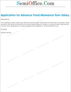 Application for Food Allowance