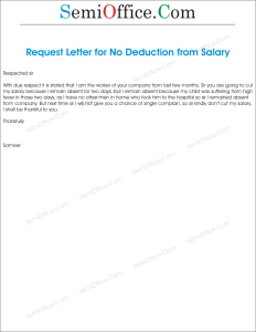 Application for Waiving off Salary Deduction