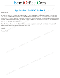 Application of NOC Certificate In Bank