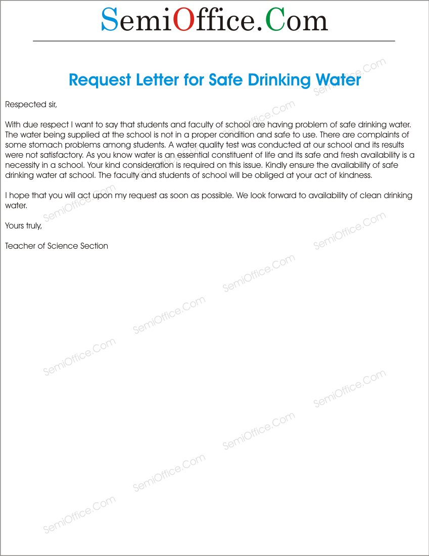 Application to principal requesting to provide safe drinking water applicationtoprincipalrequestingtoprovidesafedrinkingwatergssl1 spiritdancerdesigns