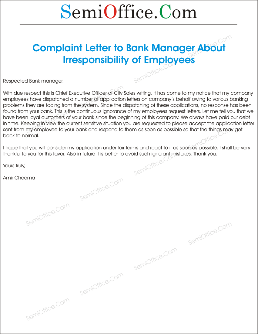 How To Write A Formal Letter To A Bank Manager