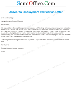 Reply to Employment Verification Letter