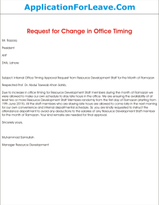 Concession Supervisor Cover Letter | Request Letter For Approval Of Change In Internal Office Timing