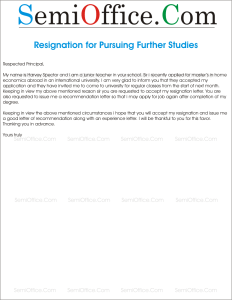 Resignation Letter for Further Studies