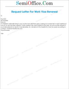 Sample Application for Renewal of Visa