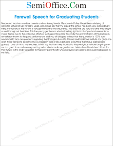 Sample Farewell Speech for Graduating Students