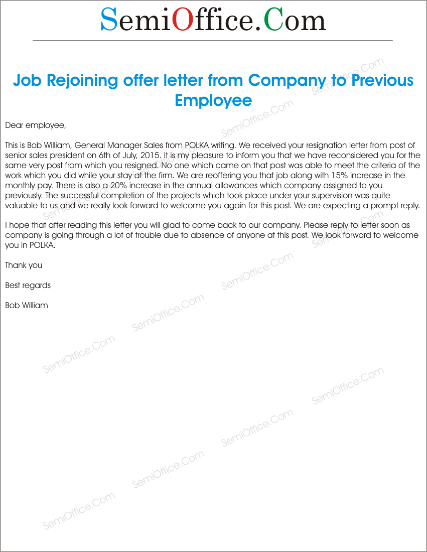 Sample Job Rejoining offer letter of Old Employee