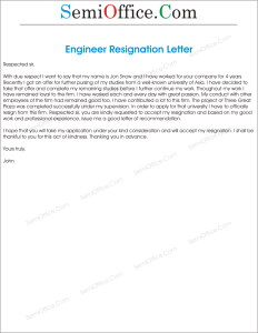 Sample Resign Letter for Engineer