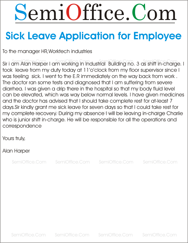 Sick leave application letter format for office application for sick leave from office by parents spiritdancerdesigns Images