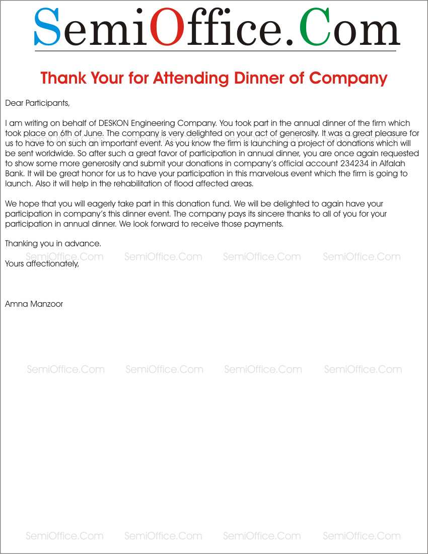 Thank You Letter to Attendees for Attending the Company Dinner