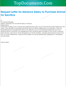 Application for Advance Salary for Sacrifice of Animal on Eid ul Adha