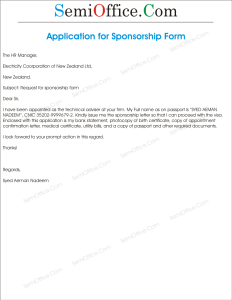 Request Letter for Sponsorship Form