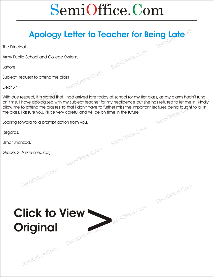 Sample Apology Letter to Teacher