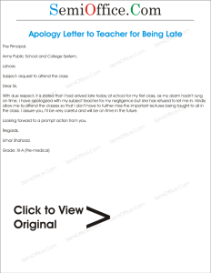 Apology Letter to Teacher for Being Late
