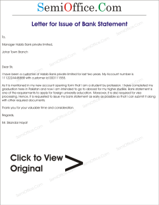 Application for Issuance of Bank Statement