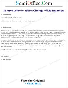 Sample Letter to Inform Change of Management