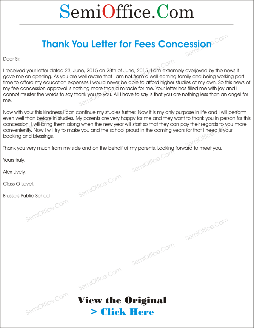 Thanks Letter To Principal For Fees Concession
