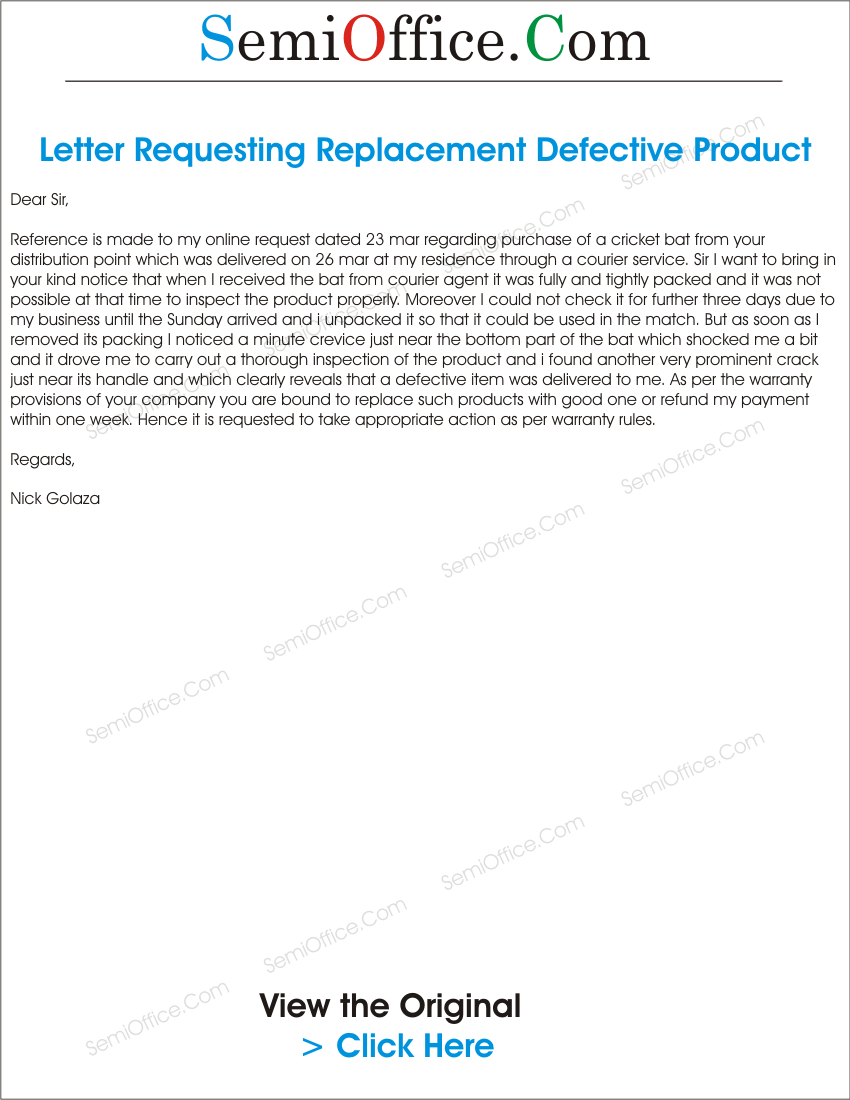 Letter for replacement of products found defective spiritdancerdesigns Images