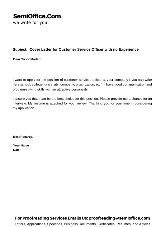 Cover Letter for Customer Service Officer with no Experience