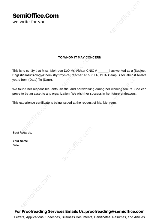Experience/Recommendation Letter For Teacher from School
