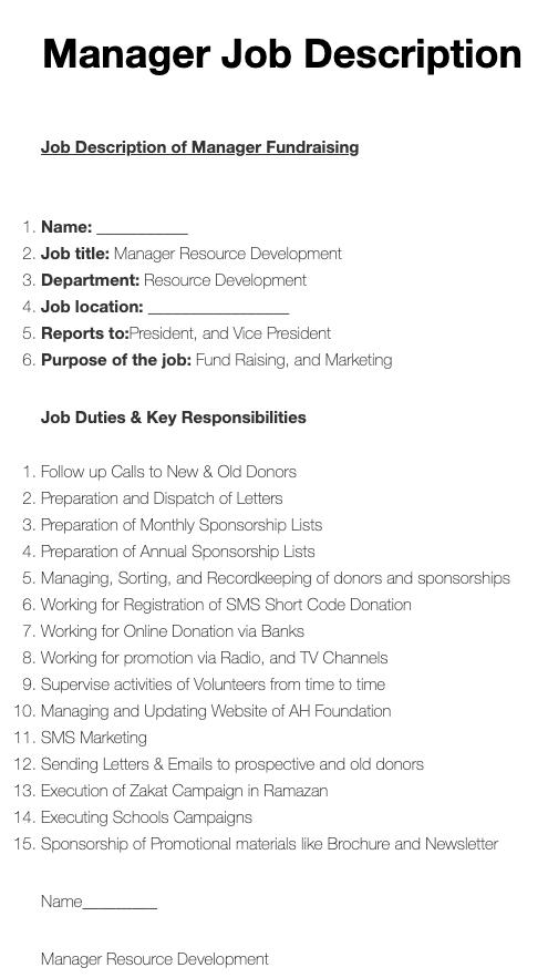 Manager Job Description