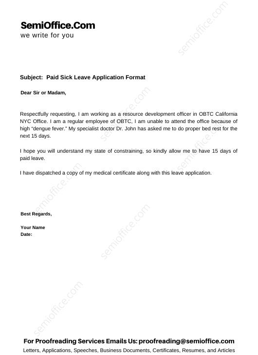 Paid Sick Leave Application Format