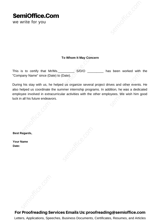 Work Experience Letter for Multiple Positions