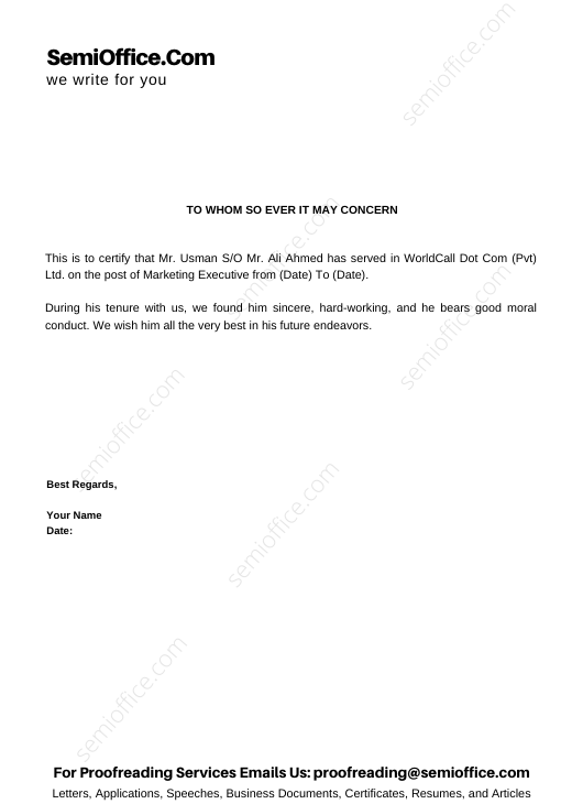 Job Experience Letter for Marketing Executive