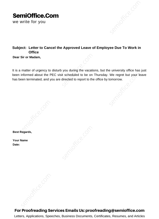 Letter to Cancel the Approved Leave of Employee Due To Work in Office